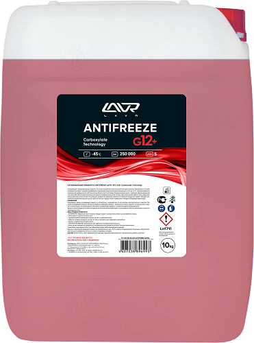 ANTIFREEZE LAVR -45 G12+ 10кг КРАСНЫЙ Изготавливается по современной карбоксилатной OAT-технологии (Organic Acid Technology).  Ln1711